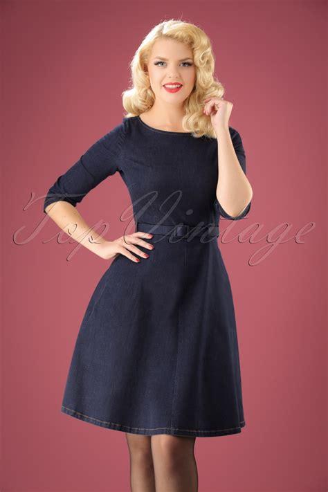 Betty Dress 60s betty denim dress 3 4 sleeve in ink blue