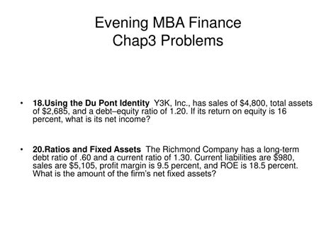 Finance For Mba Students Ppt by Ppt Evening Mba Finance Chap3 Problems Powerpoint
