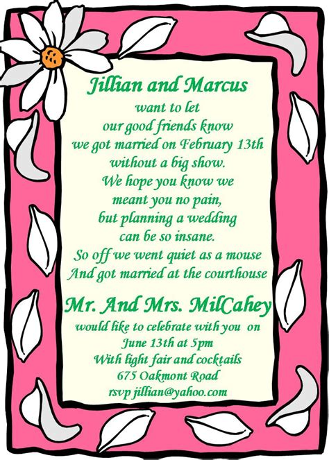 wedding reception invite sles elopement invitations reception only invitations