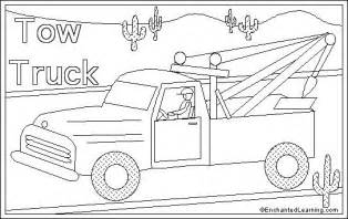 tow color tow truck coloring page enchantedlearning