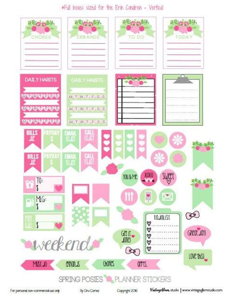 printable planner free pinterest spring posies planner stickers free for personal use