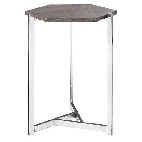 gray accent table elvas modern gray washed hexagon accent table eurway