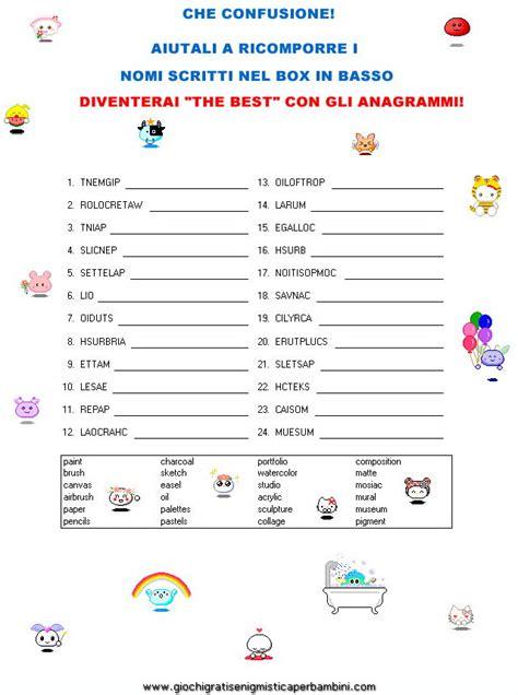 anagramma di lettere anagrammi giochi enigmistici per bambini in inglese