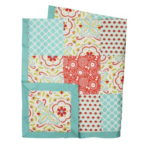 Patchwork Baby Bedding - floral coral aqua patchwork 4 in 1 baby crib