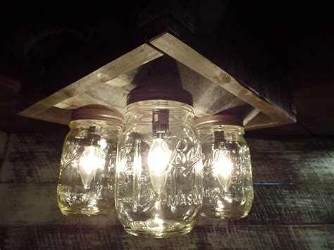 Farmhouse Ceiling Light Fixtures Handmade Jar Barn Box Farmhouse Ceiling Light Fixture 4 Light Ebay