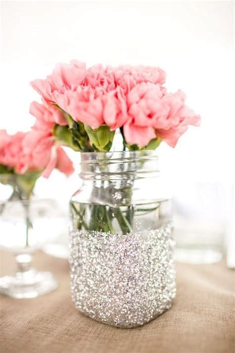 Flower Vase Ideas by Wedding Theme Glitter Vase Jars For Table Decorations