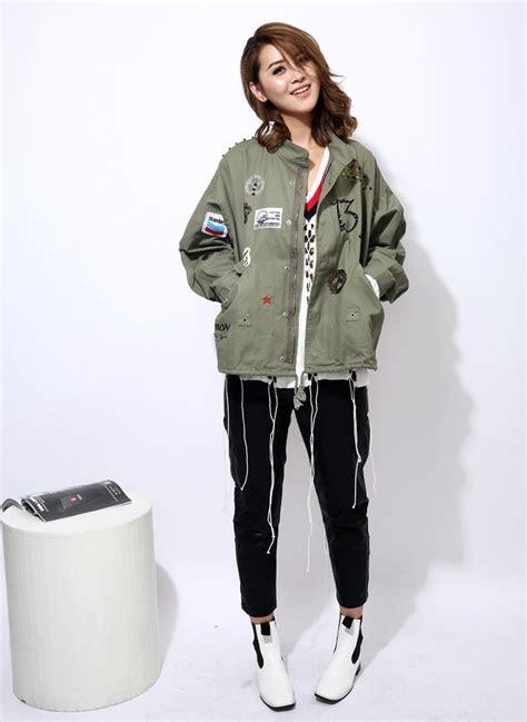Jaket Wanita Korea Casual Bomber Army twotwinstyle streetwear bomber jacket basic coat