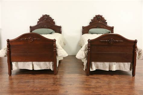 antique twin beds sold pair of twin size victorian 1875 antique carved