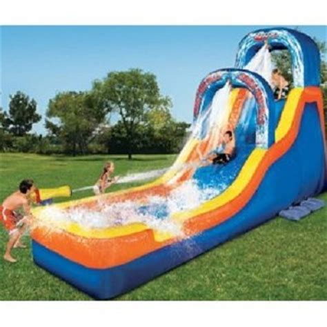 backyard blow up water slides banzai double drop falls inflatable water slide