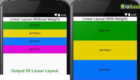 android layout weight and width linear layout tutorial with exles in android