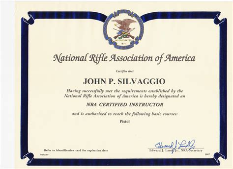 nra certificate template credentials rhode island nra certified pistol instructor