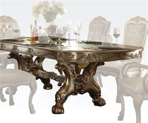 traditional dining table chairs traditional dining table dresden gold by acme furniture