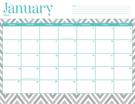 printable january planner 2016 9 best images of free chevron printable calendar 2016