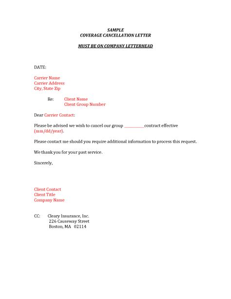 cancellation notice letter insurance best photos of cancellation request letter sle