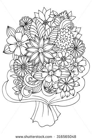 coloring book paper stock bouquet of flowers in a wrapping paper for coloring book