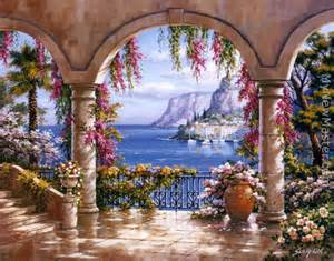 Tuscan Wall Mural Sung Kim Floral Patio I Painting