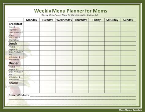 printable menu planner template free word s templates