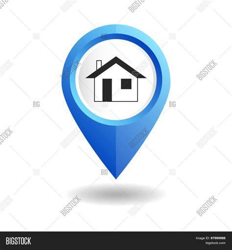 blue map pointer home icon gps vector photo bigstock
