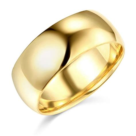 14k yellow or white gold 8mm solid plain wedding band