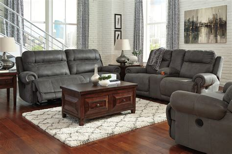 austere power reclining sofa austere power reclining living room set in gray