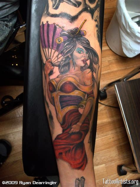 tattoo designs pin up geisha color pinup artists org