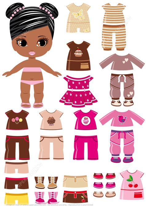 paper dress up dolls template amercian with a set of summer clothing from