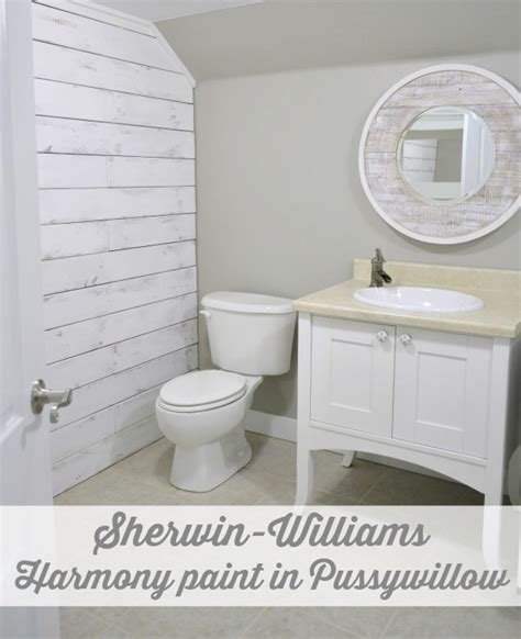 sherwin williams pussywillow nod to nautical bathroom makeover reveal fox hollow cottage