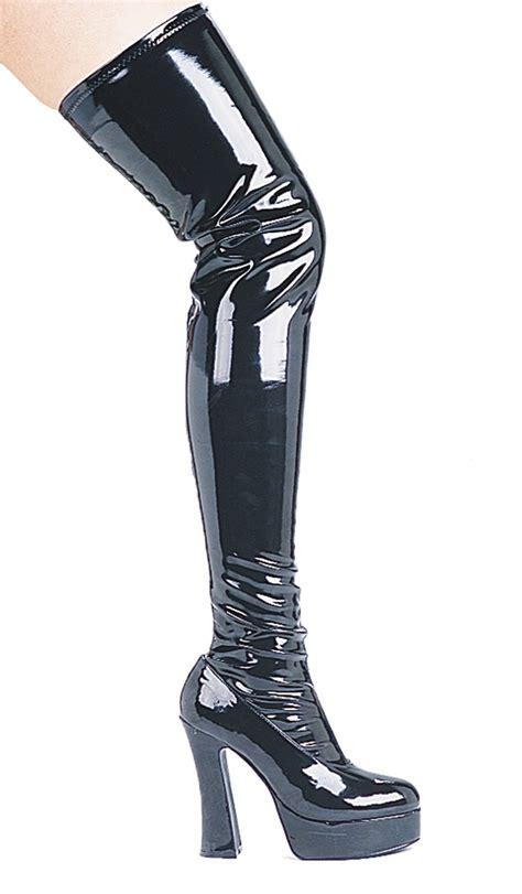 thigh high zip up black vinyl thrill boots sz8