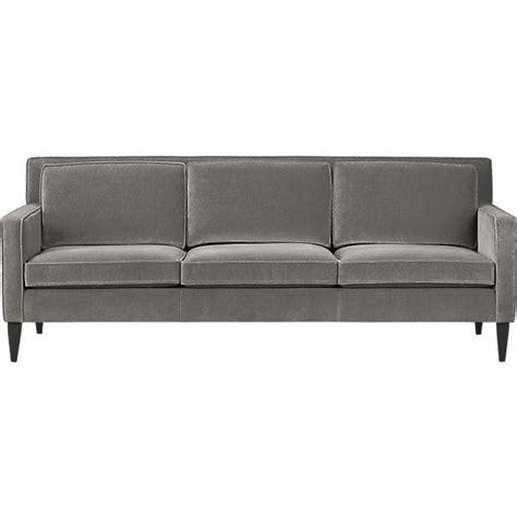 mid century gray velvet sofa