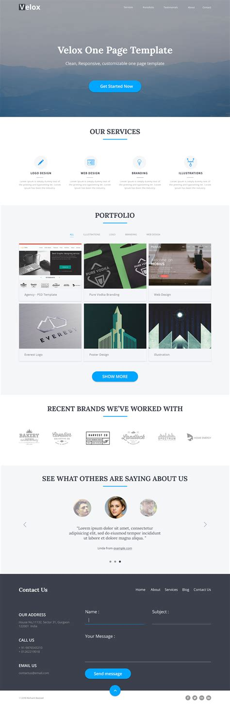 velox one page free html template free html5 templates