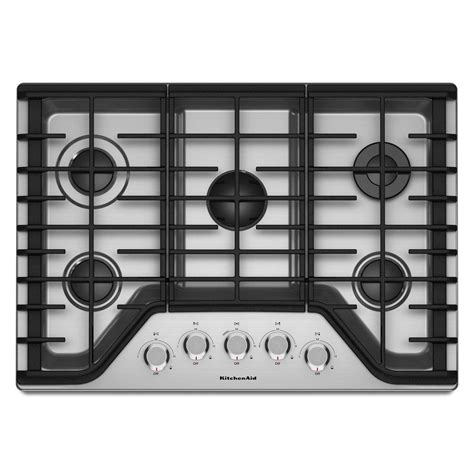 kitchenaid cooktop kitchenaid 30 in gas cooktop in stainless steel with 5