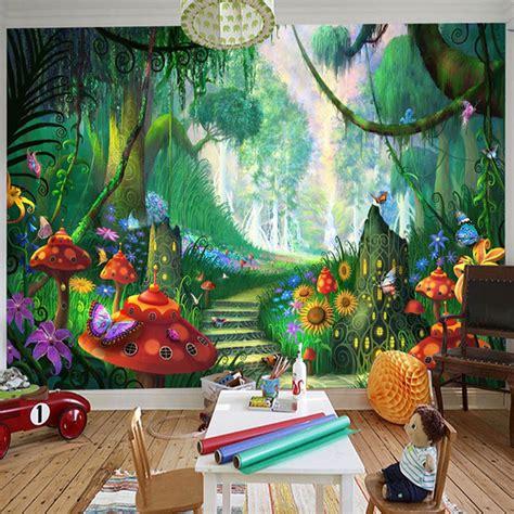 wallpaper 3d kartun kustom mural wallpaper 3d kartun peri hutan jamur jalan