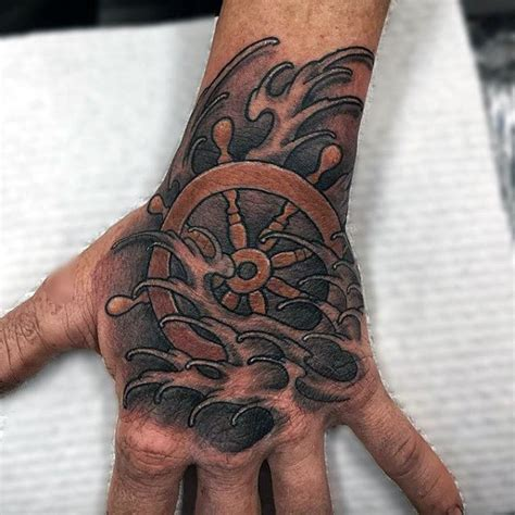 boat hand tattoo 100 nautical tattoos for men slick seafaring design ideas
