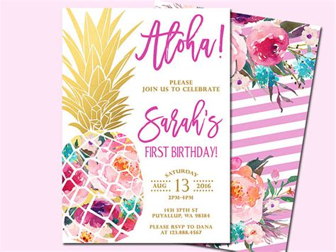 Come With Me Luau Dinner For 8 Invites by Pineapple Birthday Invitation Tropical Aloha By