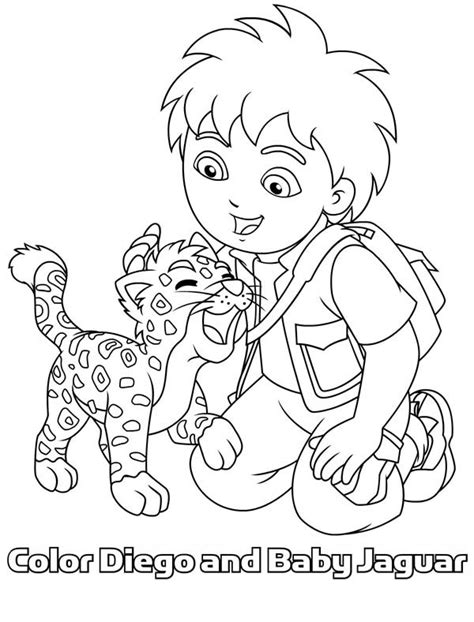 Diego And Baby Jaguar Coloring Pages baby jaguar diego in go diego go coloring page netart