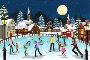月明かりの聖夜にスケートを楽しむ人々 ice skating in the moon christmas scene