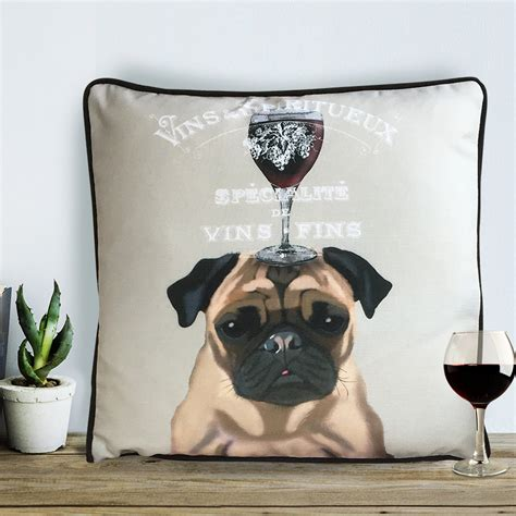 pug presents for pug pug gifts wine gift pug pillow pug cushion wine d 233 cor wine