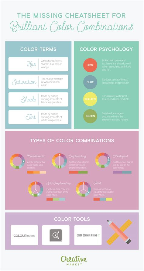 color pairings infographic a cheatsheet to brilliant color combinations
