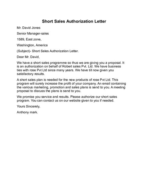 sales authorization letter sle free