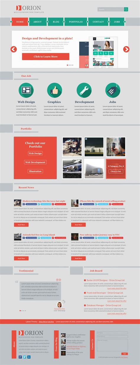 Design Layout Vorlagen Free Multipurpose Web Template Flat Free Layout Psd Resource Template