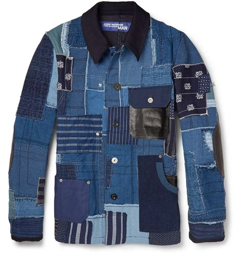 Patchwork Denim Jacket - junya watanabe denim patchwork jacket in blue for lyst
