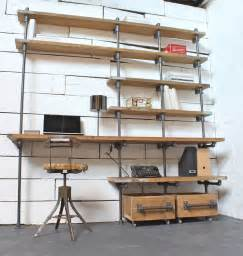 Shelving Desk Caroline Wood And Pipe Industrial Desk And Shelves By