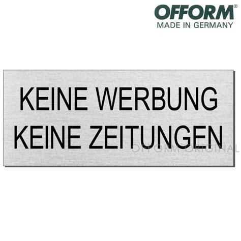 Aufkleber Keine Werbung Und Gratiszeitungen by Edelstahlschild Quot Keine Werbung Quot Wagner Sicherheit