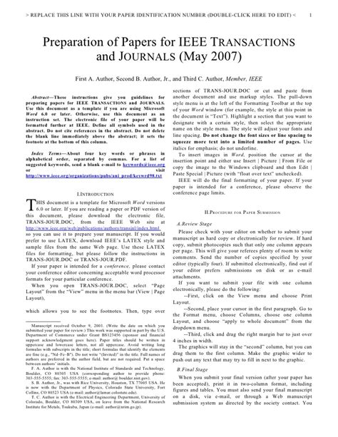 ieee format template ieee journal template