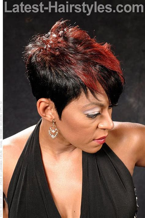 black hair shortcuts to internet ready copper red fringe pixie with highlights just hair