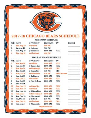 printable 2017 2018 chicago bears schedule