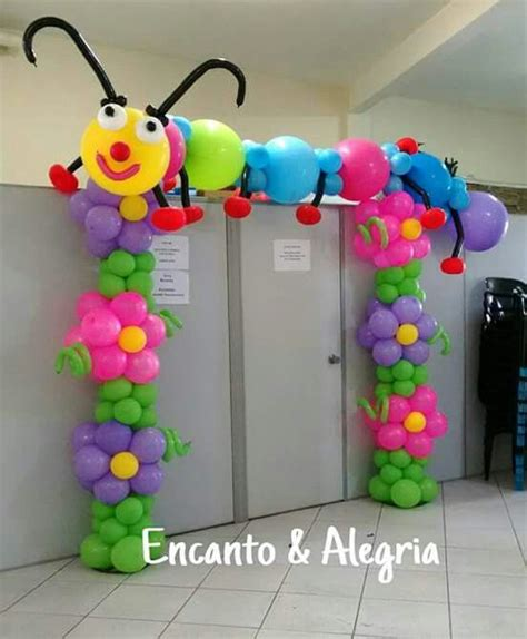 flower pattern balloon arch cute flower balloon arch with caterpillar on top