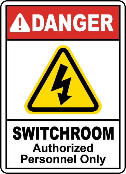 electrical room safety danger switchroom authorized only sign e2245 by safetysign