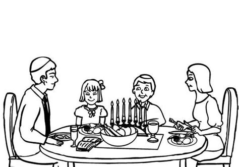 coloring page of family eating dinner a family celebrating passover meal coloring page a family
