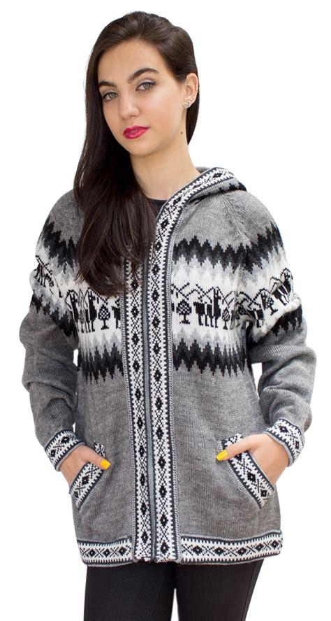 Sweater Jaket Three Second Hoodie llamas hooded alpaca wool knitted jacket hoodie sweater ebay